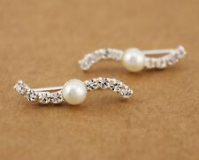 925 Sterling Silver Faux Pearl CZ Line Cuff Climber Crawler Earrings A1289
