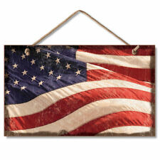 Retro Wooden Sign Wall Plaque American Flag Flying Old Glory