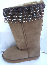 NEW BOOT CUFFS TOPPERS HUGS. GREY & SILVER BEAD DROPS. PERFECT PRESENT OR GIFT.
