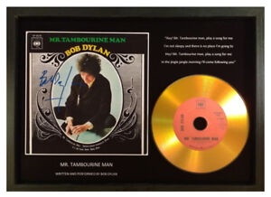 BOB DYLAN 'MR TAMBOURINE MAN' SIGNED PHOTO GOLD CD DISC COLLECTABLE MEMORABILIA