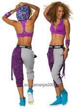 ZUMBA 2Pc.SET!! Mashed Up Hooded Hoodness Bra Top + Two Toned Dance Harem Pants