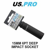 "US PRO Single 1/2"" DR 15MM 6 Point Deep Impact Socket 3372"