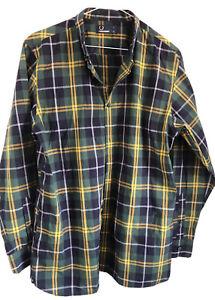"Fred Perry Green Blue Check Tartan Button Down LS Shirt Y XL 40"""
