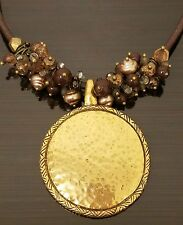 Premier Designs Gold Medallion Tan Brown Glass Beads Shells Leather Necklace