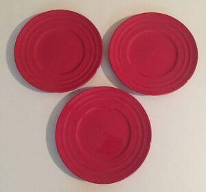 "Rachael Rachel Ray Double Ridge 3 Salad Plates 8"" Red Set of Three"