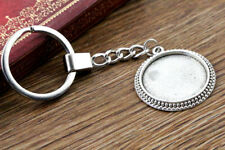 Antique Silver Plated Keyring with 25mm Cabochon Setting | 2pcs