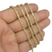 """Genuine Real 10K Yellow Gold 16""""-26"""" Rope Chain Pendant Necklace Men Women 2.5mm"""