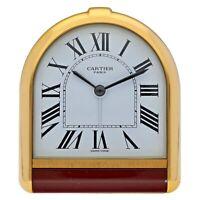 Vintage Cartier 06882 Roman White Dial Gold Plated Table Deck Quartz Alarm Clock