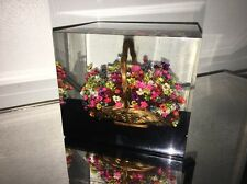 Large Lucite Flowers In Basket Colorful Munich Paperweight