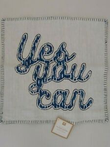 """Pottery Barn Teen Artisan Yes You Can Pillow Cover 18"""" Blue NWT"""