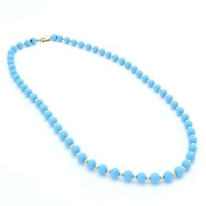 Vintage Blue Turquoise & Gold Filled Beaded Necklace 19 Inches