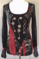 ***L* Save The Queen lace Stretch Top Tee T-Shirt Tunic Dress Blouse made ITALY