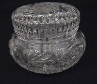Vintage Clear Cut Crystal Covered Glass Jar Powder Vanity Trinket Jewelry