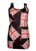 NEW UNION JACK UK FADED FLAG PATCHES PRINT LONG VEST TANK TOP GOTH OLYMPICS