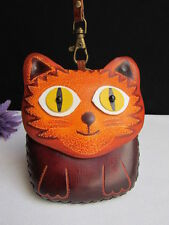 New Women Wallet Bag Key Brown Cat Eyes Purse Small Coin Chain Genuine Leather