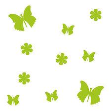 10 Aufkleber Tattoo grün Schmetterlinge & Blumen Auto Möbel Fenster Deko Folie