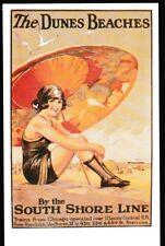 South Shore Line Dunes Beaches poster postcard railroad train CSS&SB