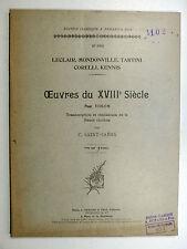 Œuvres pr violon de LECLAIR Mondonville TARTINI... Basse chiffrée C. SAINT-SAËNS