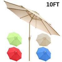 10FT Patio Solar Umbrella LED Market Steel Tilt W/ Crank Outdoor Sun Shade 8Ribs