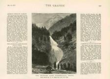 1876 antica stampa-Austria Tirolo krimler Ache CASCATA Alpi Ghiacciaio (3A)