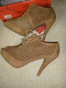 Xti Camel peep toe stiletto lace up Shoes/ankle boots,NEW,Smart/Casual/Work/Play