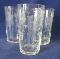 Vintage Retro Noritake Sasaki Bamboo Pattern Highball Glasses Set of Three Clear