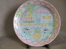 """SUSAN PAINTER POTTERY FISH THEMED 11"""" ROUND PLATE IN EXCELLENT CONDITION"""