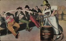 German Beer Maid as Fire Fighter Hosing Men Down w/ Beer c1910 Postcard