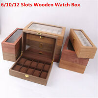 New 6/10/12 Slots Wooden Watch Box Display Organizer Jewelry Storage Case Holder