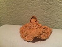 """Celluloid Plastic 1.5"""" Sitting Vintage Baby Doll House Doll"""