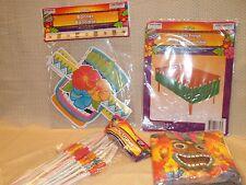 Luau Hawaiian Theme party Supplies - Straws Napkins Table Fringe  & Tiki Banner
