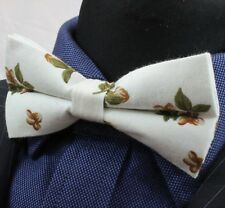 Bow Tie.Ivory White with Brown Floral. Cotton Premium Quality. Pre-Tied. BV155