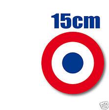 2 Cocardes tricolore 15cm FRANCE bleu au centreAUTOCOLLANT STICKER