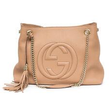 73fcb401f9515 Gucci Camelia Camel Pebbled Leather Soho Shoulder Handbag Tassel Bag Italy
