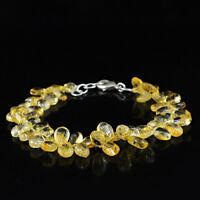 "115.00Cts Earth Mined Golden Rutile Quartz Tear Drop Beads 8"" Long Bracelet (DG)"