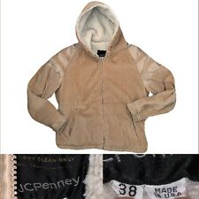 Vtg 60s Men's JC Penney Corduroy Deep Sherpa Lined Fleece Trucker Coat 38
