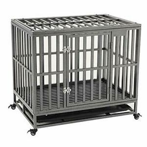 KELIXU Heavy Duty Dog Crate Large Dog cage Dog Kennels and Crates for Large Dogs