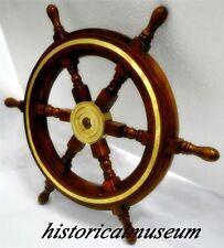 "Ship Wheel Helm Cherry Finish Hm200 Wood 18"" NauticaL Ocean Sea Decor"