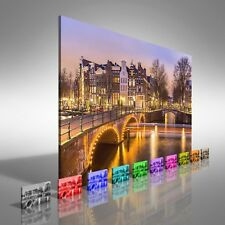 Amsterdam Canals At Dusk Canvas Print Large Picture Wall Print