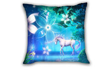 White Unicorn Square Throw Pillow Case Cushion Cover Sofa Home Bed Decor 43*43cm