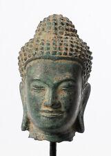 "Antique Thai style Mounted Bronze Buddha Head Statue - 17cm/7"""