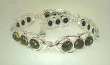 "11mm Solid 925 STER Silver Genuine Baltic Sea Round Green Amber Bracelet 7.5"" #1"