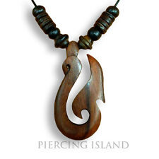 Halskette Längenverstellbar Anhänger Kette Hei Matau Maori Holz Design N044