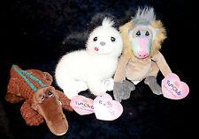 x3 PRECIOUS MOMENTS FUN CLUB PLUSH Figures Bean Crocodile Seal Monkey Mandrin