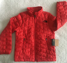 North Face Boy Thermoball Quilted Eco Zip Red Black Logo Warm Jacket XS 6 new