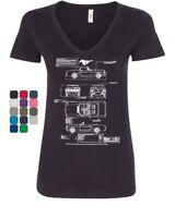 1966 Ford Mustang GT Blueprint Women's V-Neck T-Shirt American Classic