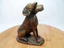 Dog with Duck Cast Metal Statue Figure. Copper-like patina.