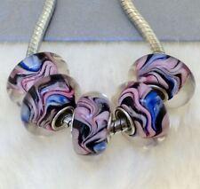 5PCS silver hallmarked Single Core Murano Glass Beads fit Charms Bracelet AOC204