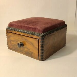 Antique Pin Cushion Box Wooden Walnut Burr Trinket Sewing Dressmaking