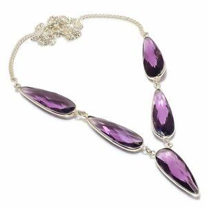 "Purple Amethyst Gemstone Handmade 925 Sterling Silver Jewelry Necklaces Sz 18"""